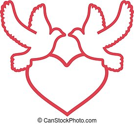 Two doves with heart outline