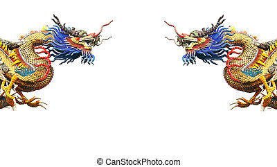two dragons statue on white background