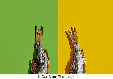 Two dried or jerky salted taranka tails, palatable clipfish ...
