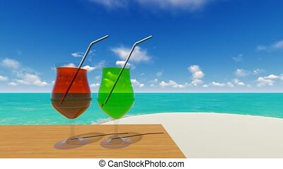 Two drinks on the beach intro for your video