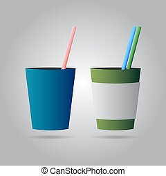 two drinks with straws