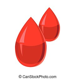 Two drops of blood icon, cartoon style