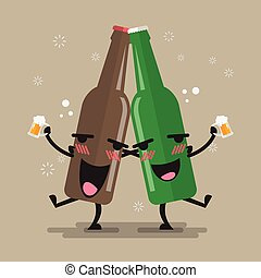 Two drunk beer glasses character