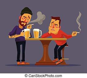 Two drunk friends discus problems. Vector flat cartoon...