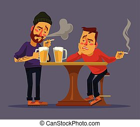 Two drunk friends discus problems. Vector flat cartoon...