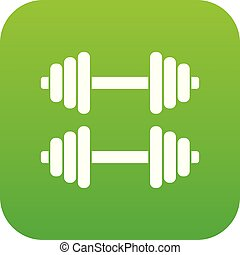 Two dumbbells icon digital green