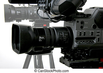 two black dv camcorders stay with white background