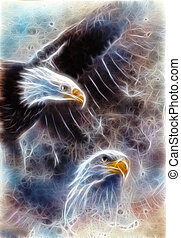 two eagles on an abstract background - beautiful airbrush...