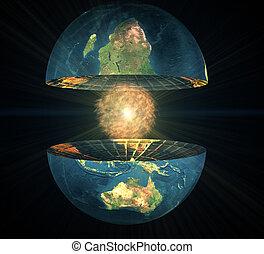 two earth hemisphere