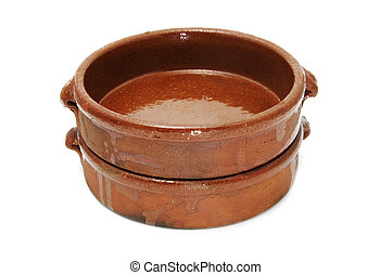 two earthenware casseroles isolated on a white background