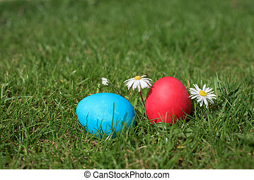 Two easter eggs- blue and red