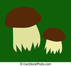 Two edible mushrooms on a green background.