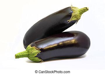 Two eggplants isolated on white