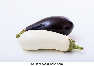 eggplants on a white background
