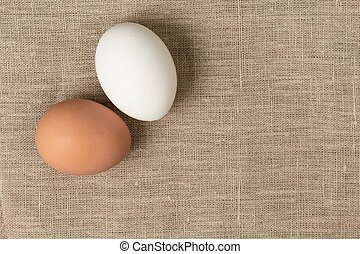 two eggs on burlap