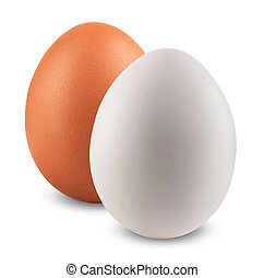 Two eggs on isoleted white background. Brown and White
