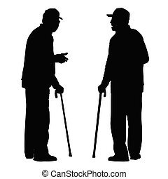 Two elderly men with cane standing and talking to each other