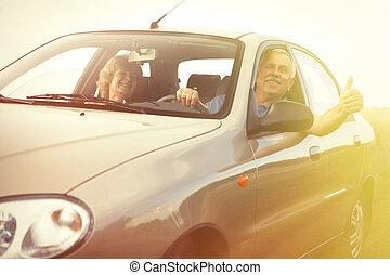 Two elderly people in car