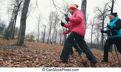 Two elderly women fast walking on sticks of nordic walking....
