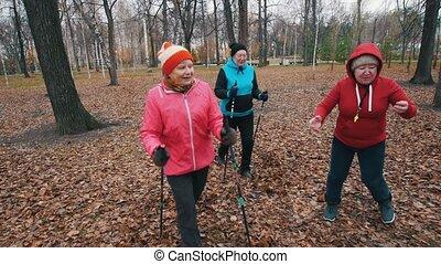Two elderly women running on sticks of nordic walking. Mid...