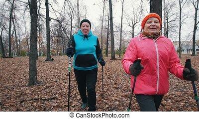 Two elderly women starts walking on sticks of nordic...
