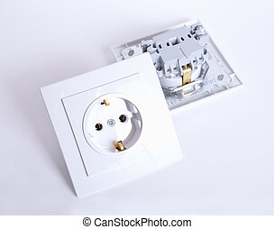 Two Electrical connector on light background