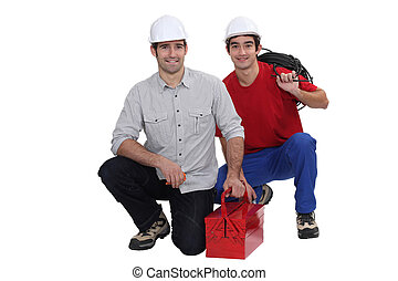 Two electrician arriving with equipment