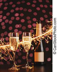 Two elegant champagne glasses