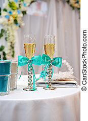 Two elegant champagne glasses