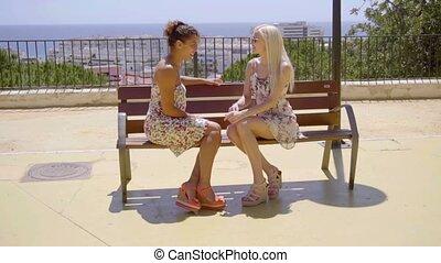 Two elegant female friends enjoy a relaxing chat