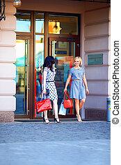 two elegant women shopping in city mall