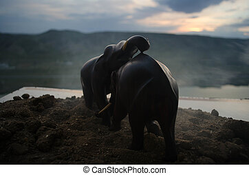 Two elephant bulls interact and communicate while play fighting.