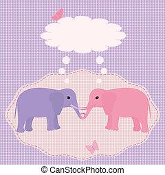 Two elephants card