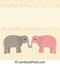 Two elephants card