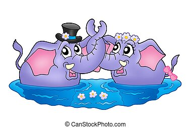 Two elephants in water - Color illustration of two elephants...