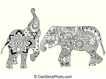 Two elephants with oriental patterns