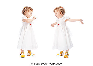 two emotional girls isolated on white background