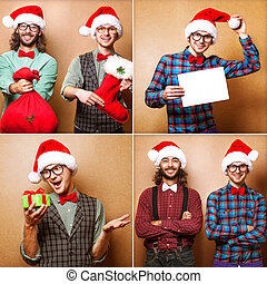 Two emotional Santa Claus dressed in clothes hipster standing ne