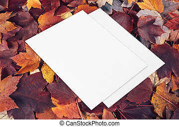 two empty card mockups lying diagonally on fall leaves background