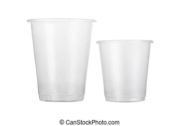 Two empty disposable plastic glass isolated on white...
