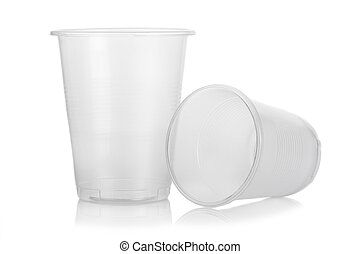 Two empty disposable plastic glass isolated on white ...