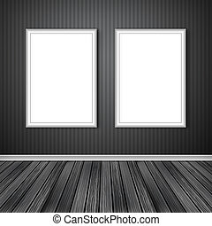 Two empty frames on a wall