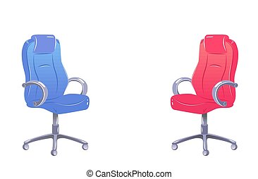 Two empty office chairs. Nobody on Red and blue chair. Copy space for text. Symbol of vacancy, negotiations, interview, conversation, open position. Concept in vector isolated on white. Hiring banner