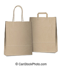 Two empty shopping brown bags