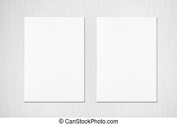 Two empty white vertical rectangle poster mockups with soft ...