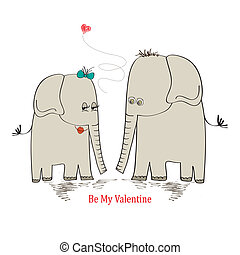 Two enamored elephants, greeting card of Valentine's Day and wedding