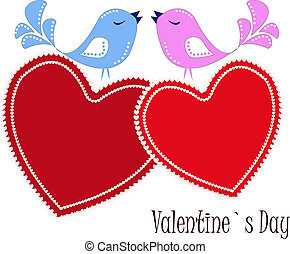 Two enamoured birdies on red hearts