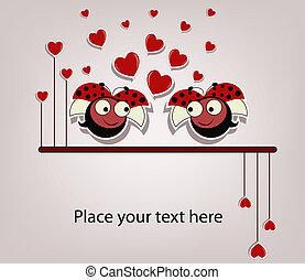 Two enamoured ladybugs