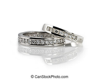 engagement rings on white - Two engagement rings on white...