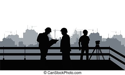 Two engineers and a construction site [].eps